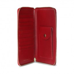 Cherry Red Tall Leather Coupe Wallet WIth Zip Around Open