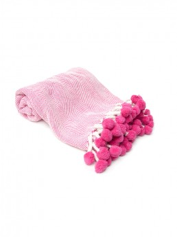 Pink Pom-Pom Picnic or Beach Blanket With Carry Handle
