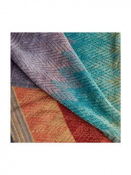 Hand Towel Yaco 159 by Missoni Home a colorful arrangement of cranberry red to sea blue to a purply grey.