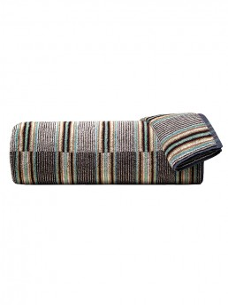 Hand Towel Yordi 100 Missoni-Home With a Colorful Arrangement of Narrow Stripes in Black, Grey, and Terra Cotta