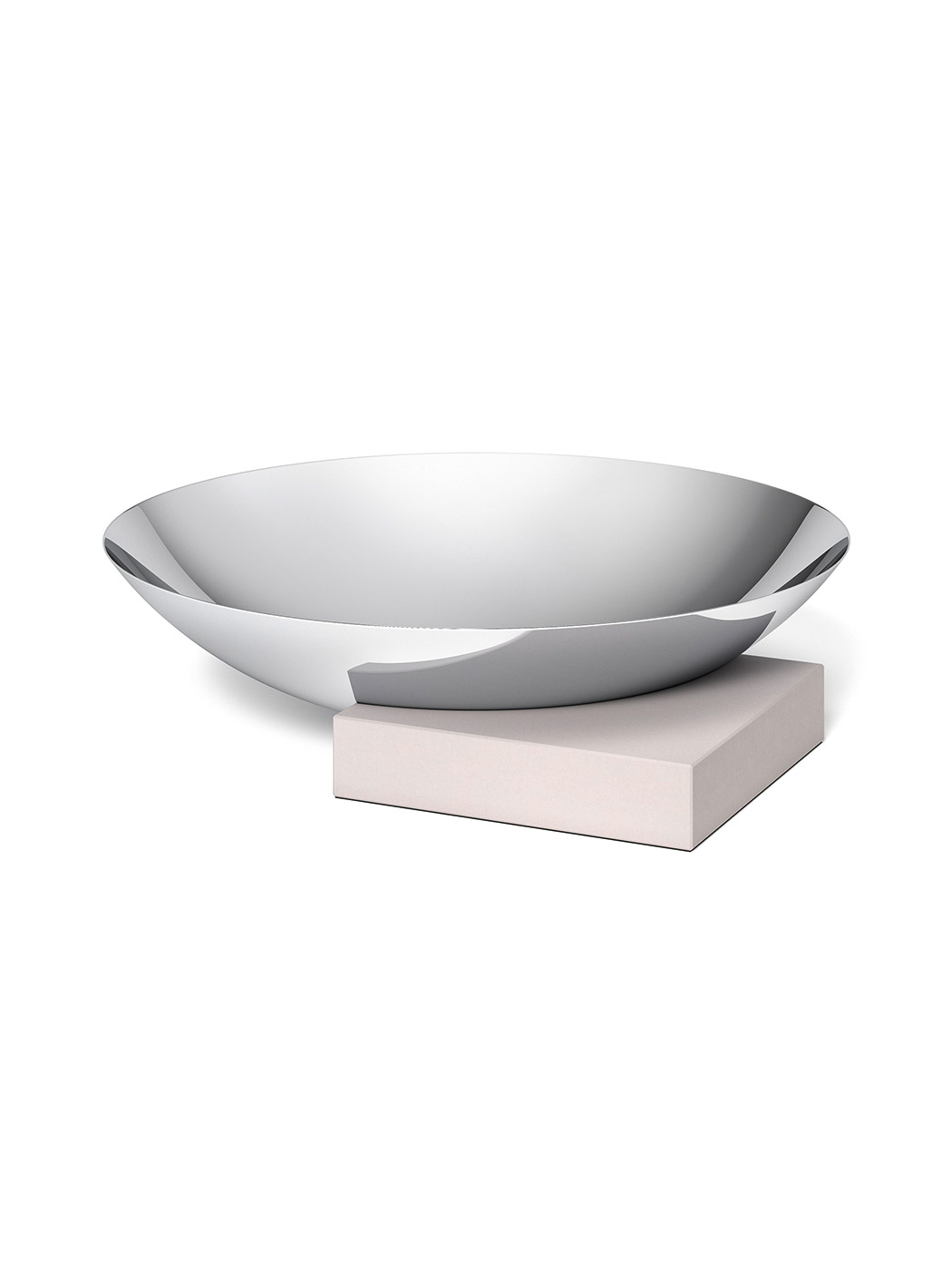 Large Polished Steel Bowl With Concrete Base