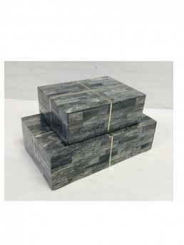 Mosaic Blue Grey Wood Boxes With Bone and Brass Inlay
