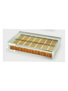 lucite domino set brushed gold