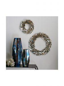 holiday metal laurel wreath goldleaf grouping 2