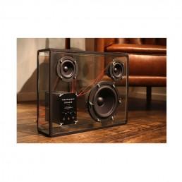 transparent speaker large black red wires lifestyle 3