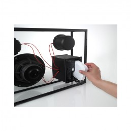 transparent speaker large black red wires toaster slot